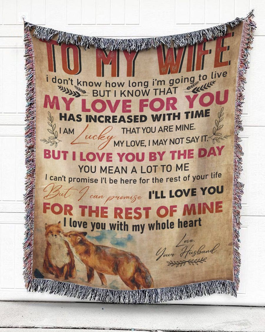 Foal14 Woven Throw For Wife Anniversary Gift, My Love For You, Cotton Blanket
