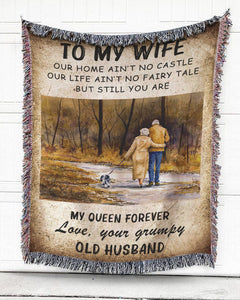 Foal14 Woven Throw For Wife Anniversary Gift, My Queen Forever, Cotton Blanket