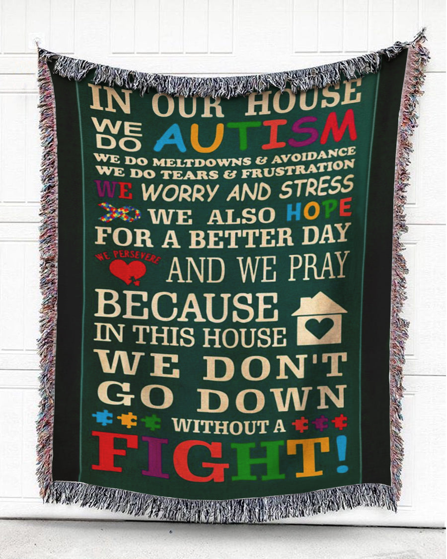 Foal14 Woven Throw Autism Awareness Gift, Autism In Our House, Cotton Blanket