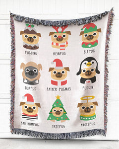 Foal14 Woven Throw For Animal Lovers Christmas Gift, Dogs - Pug's Shades For Noel, Cotton Blanket
