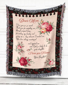 Foal14 Woven Throw For Mother Birthday Gift, Roses - Dear Mom, Cotton Blanket