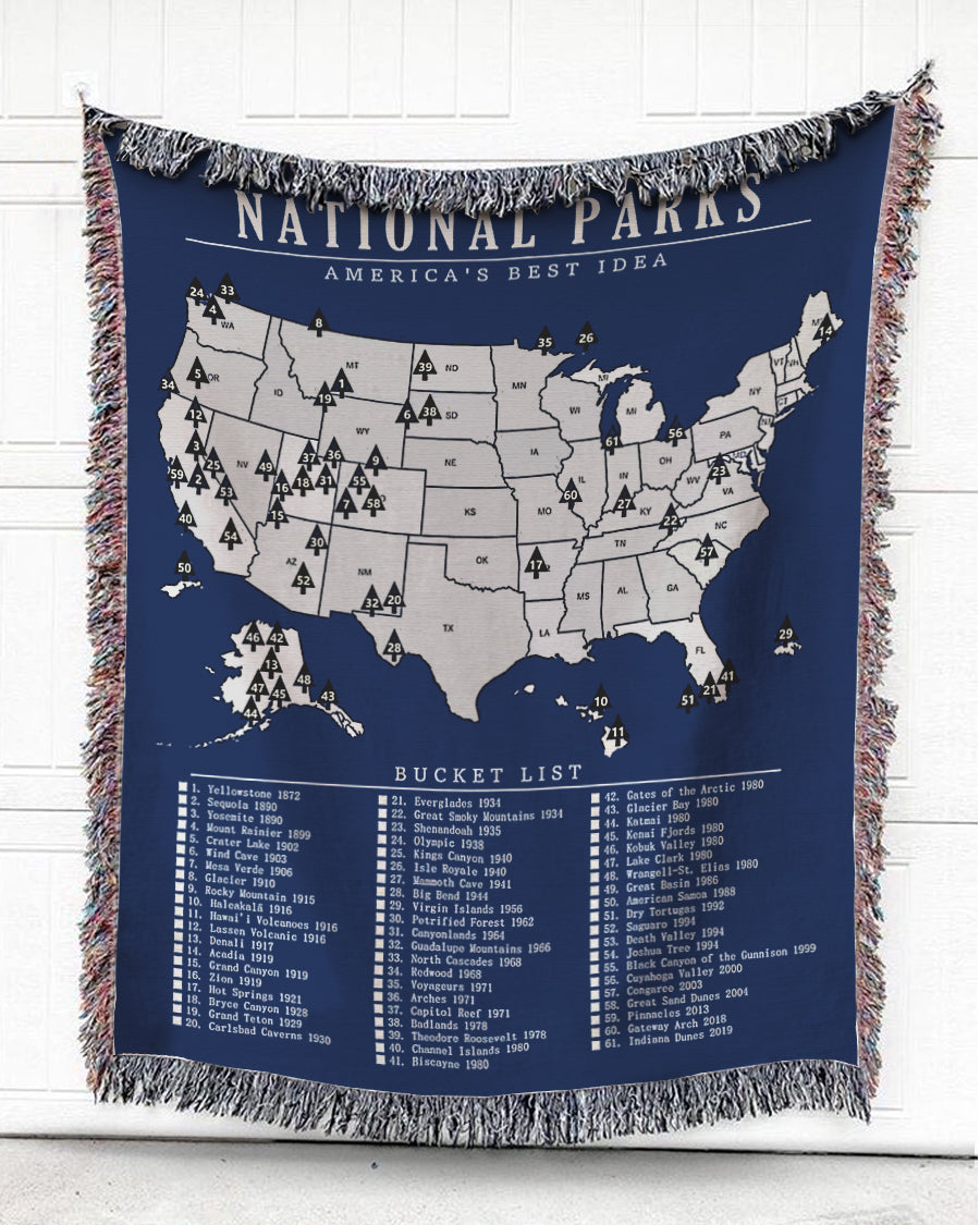 Foal14 Woven Throw For Family Home Decor, National Parks - America's Best Idea, Cotton Blanket