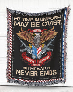 Foal14 Woven Throw For Soldier Veteran's Day Gift, Eagle And Guns - My Watch Never Ends, Cotton Blanket