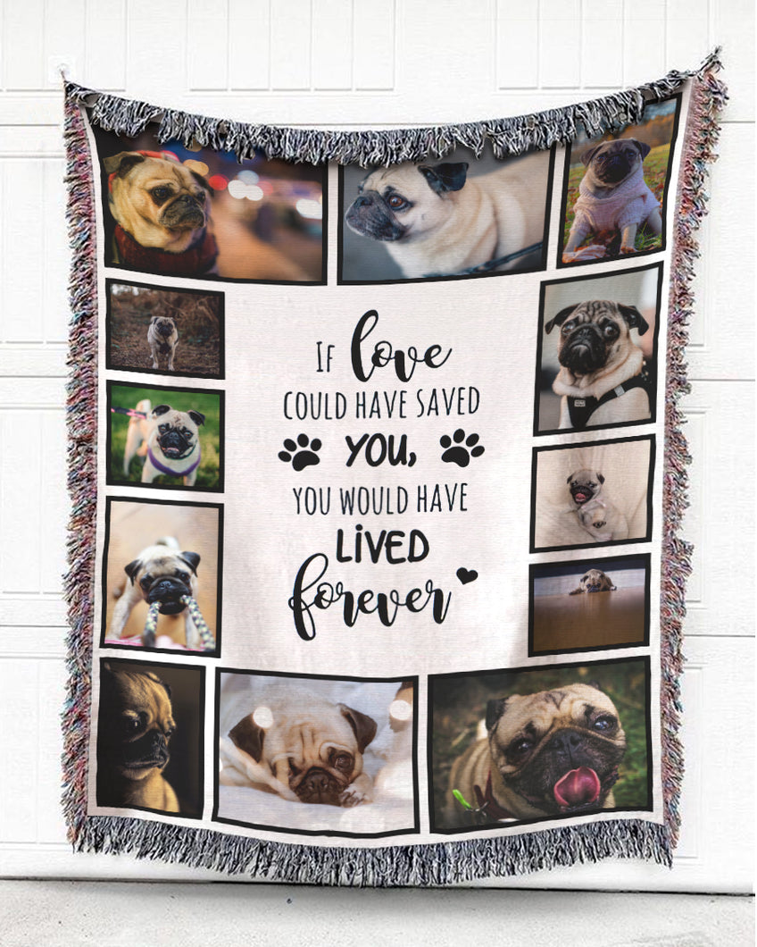 Foal14 Personalized Memorial Woven Blanket Pet Sympathy Gift, Dog Memories, With Custom Photo