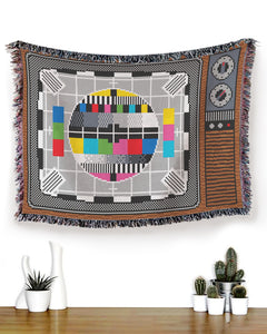 Foal14 Woven Throw For Family Home Decor, Television - Test Card, Cotton Blanket