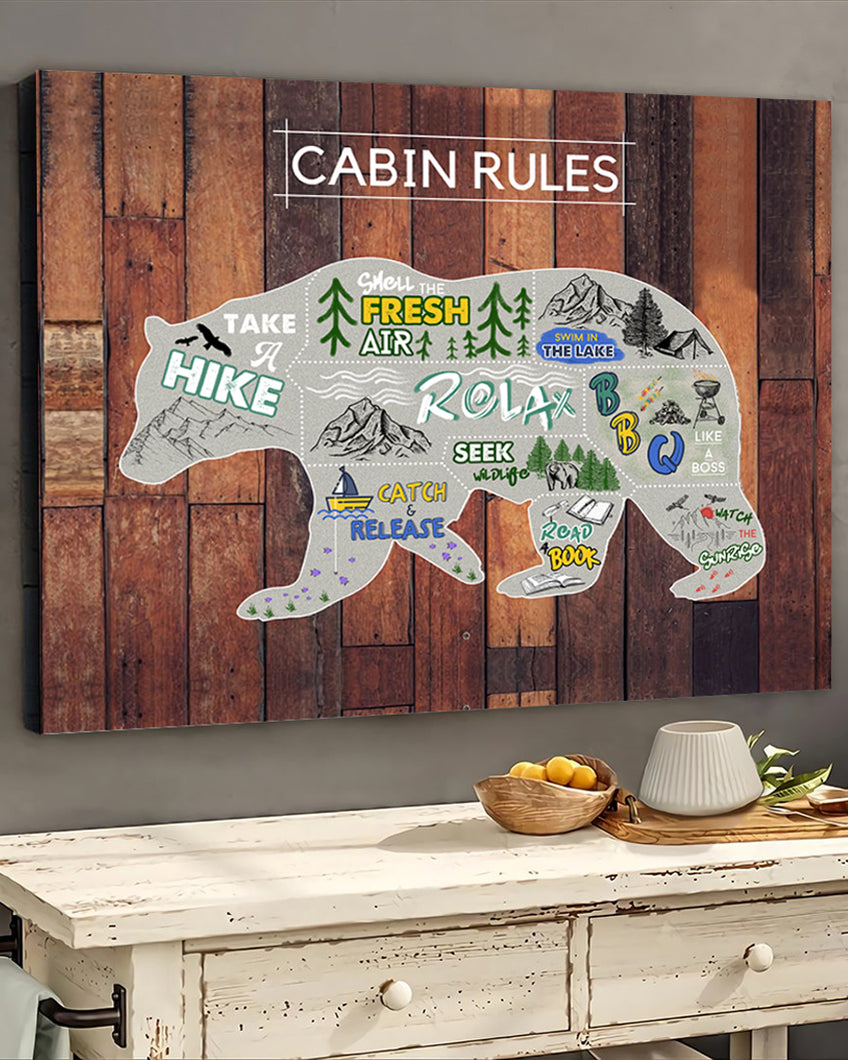 FOAL14 Canvas For Camping Lovers Christmas Gift, Bear - Cabin Rules, Home Decor