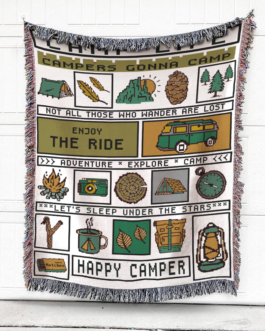 Foal14 Woven Throw For Campers Camping Gift, Enjoy The Ride, Cotton Blanket