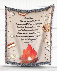Foal14 Personalized Woven Blanket For Father Birthday Gift, Camping Fire - Dear Dad, With Personalized Text