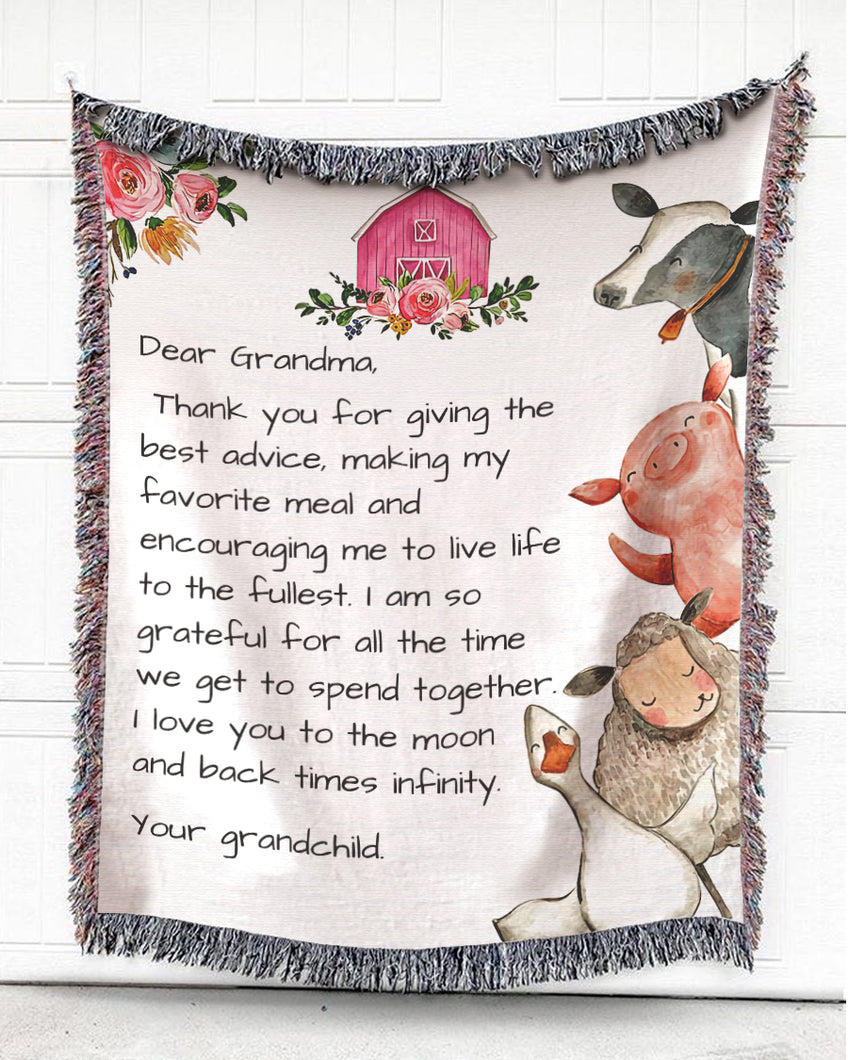 Foal14 Personalized Woven Blanket For Grandmother Birthday Gift, Poultry And Cattle On Farm - Dear Grandma, With Personalized Text