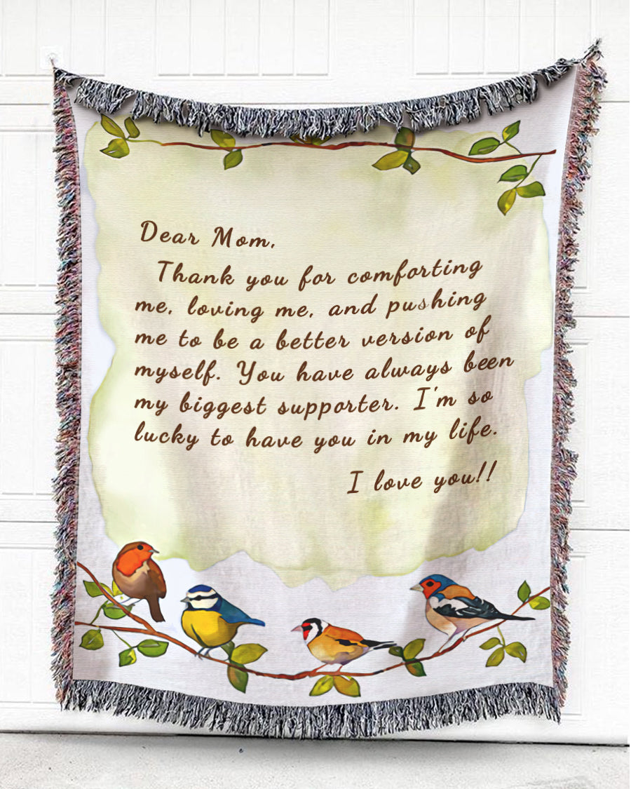 Foal14 Personalized Woven Blanket For Mother Birthday Gift, Birds Perching On Tree #2 - Dear Mom, With Personalized Text