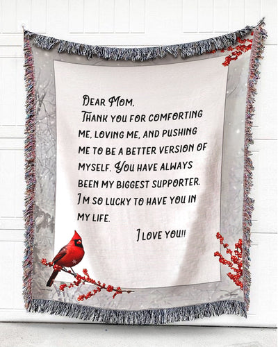 Foal14 Personalized Woven Blanket For Mother Mother's Day Gift, Cardinal - Dear Mom, With Personalized Text