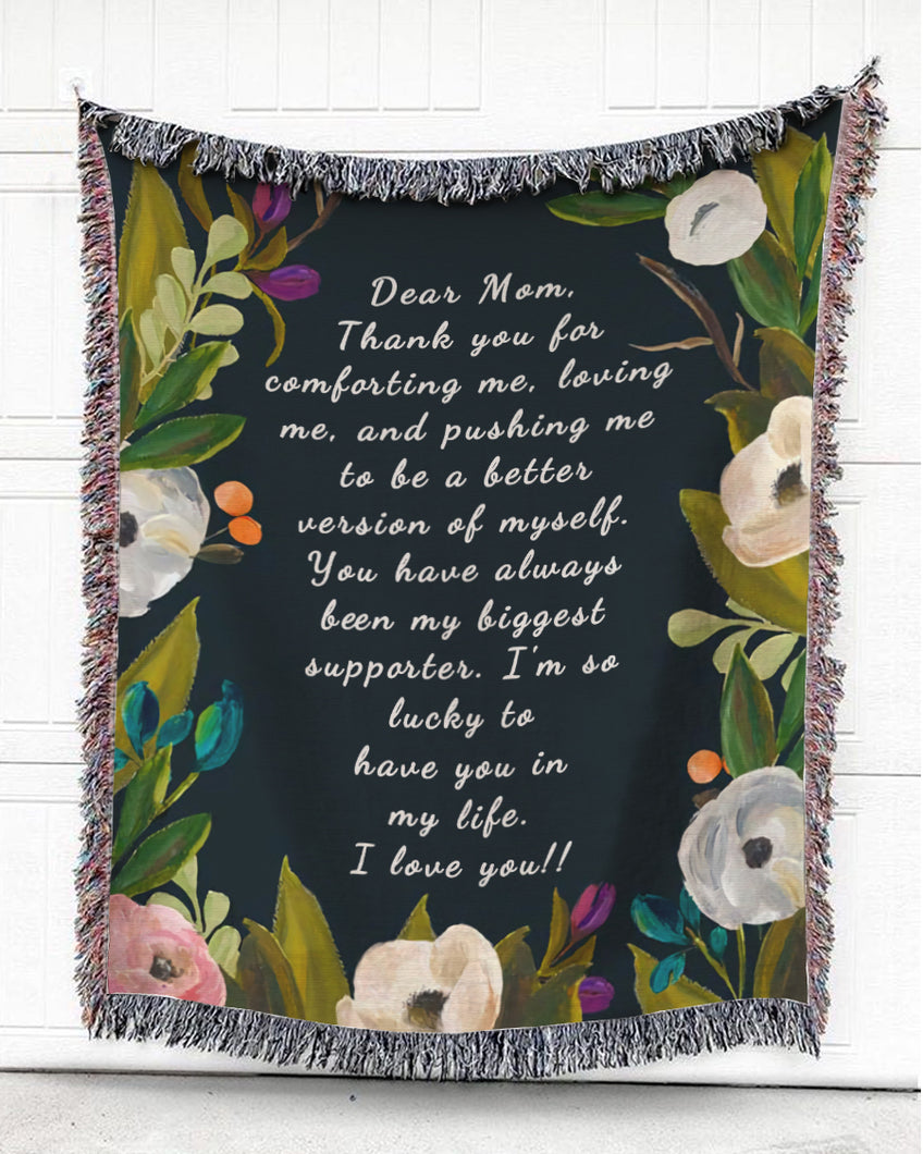 Foal14 Personalized Woven Blanket For Mother Mother's Day Gift, Oil Painting Flowers - Dear Mom, With Personalized Text