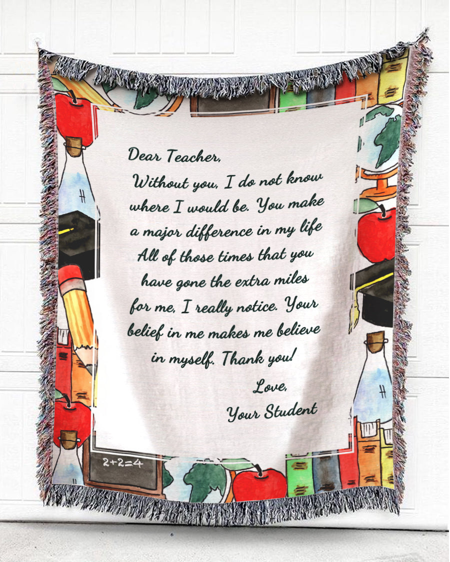 Foal14 Personalized Woven Blanket For Teacher Christmas Gift, Books And Stationery - Dear Teacher, With Personalized Text