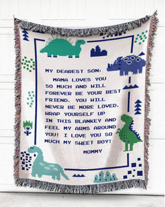 Foal14 Personalized Woven Blanket For Son Birthday Gift, Dinosaurs - My Dearest Son, With Personalized Text