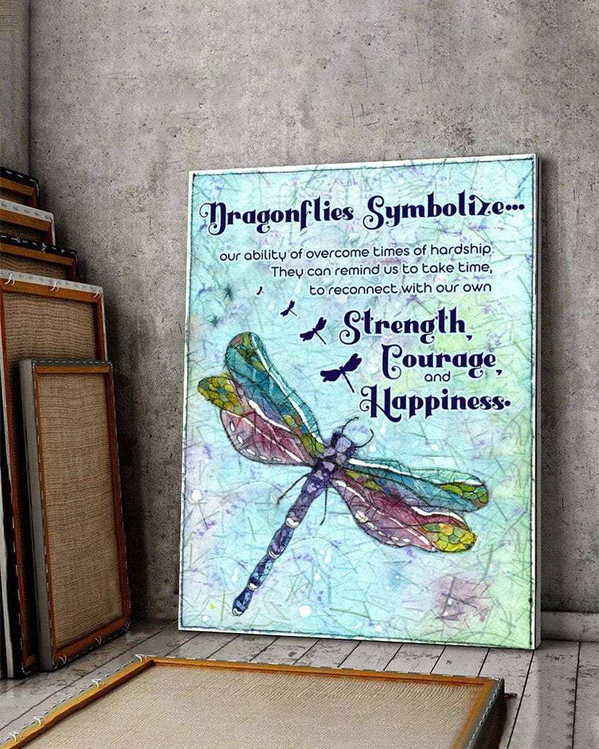FOAL14 Canvas For Animal Lovers Christmas Gift, Dragonflies Symbolize Strength, Courage And Happiness, Home Decor