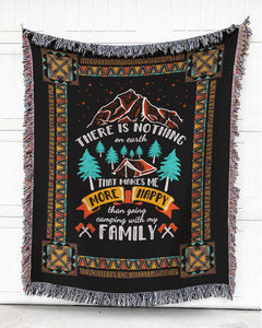 Foal14 Woven Throw For Family Camping Gift, Camping With Family, Cotton Blanket