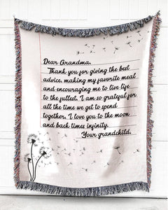Foal14 Personalized Woven Blanket For Grandmother Birthday Gift, Dandelion Flowers - Dear Grandma, With Personalized Text