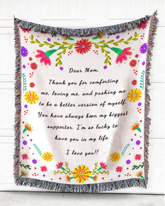 Foal14 Personalized Woven Blanket For Mother Mother's Day Gift, Colorful Gerbera Flowers - Dear Mom, With Personalized Text