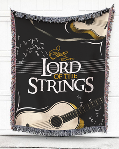 Foal14 Woven Throw For Music Lovers Home Decor Gift, Strings' Lord, Cotton Blanket