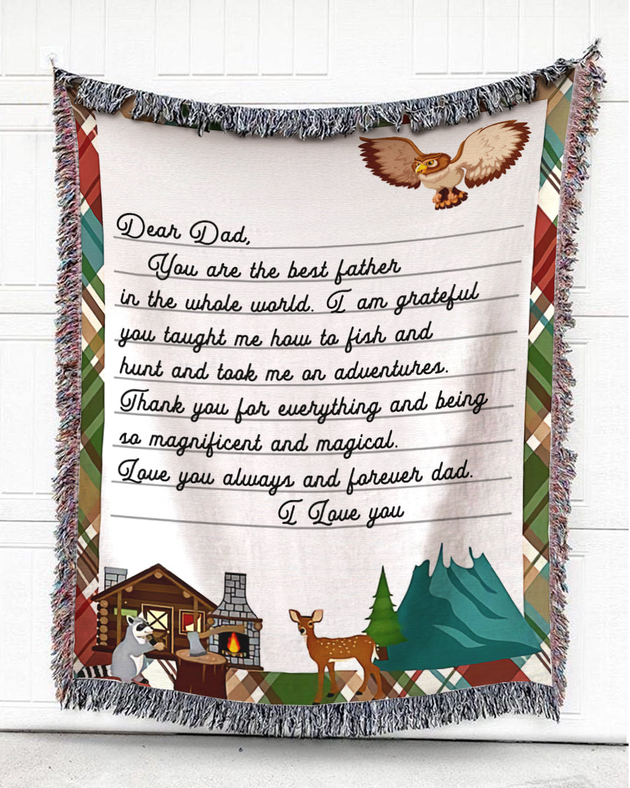 Foal14 Personalized Woven Blanket For Father Birthday Gift, Camping - Dear Magnificent And Magical Dad, With Personalized Text