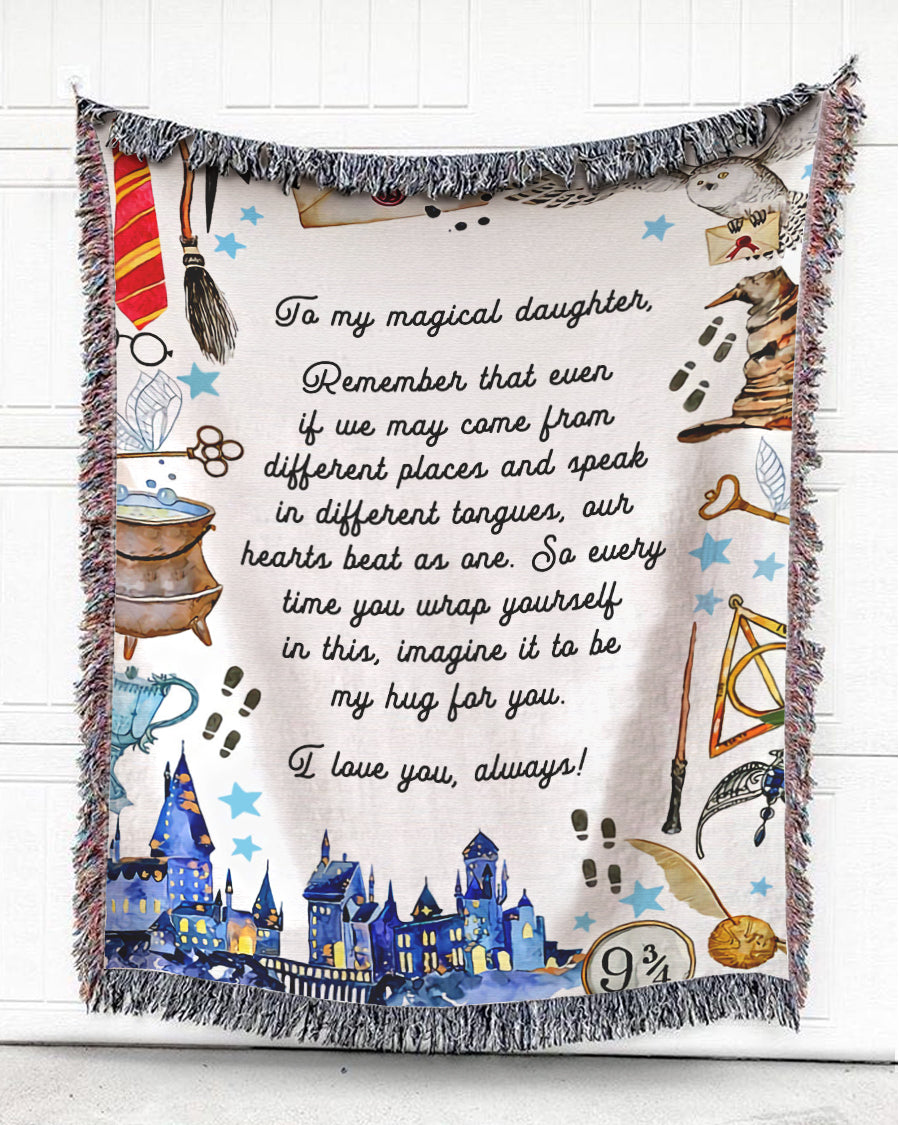 Foal14 Personalized Woven Blanket For Daughter Birthday Gift, Magic - To My Magical Daughter, With Personalized Text