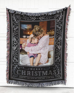 Foal14 Personalized Woven Blanket For Family Home Decor, Merry Christmas - Sending Lots Of Love And Warm Hug, With Custom Photo