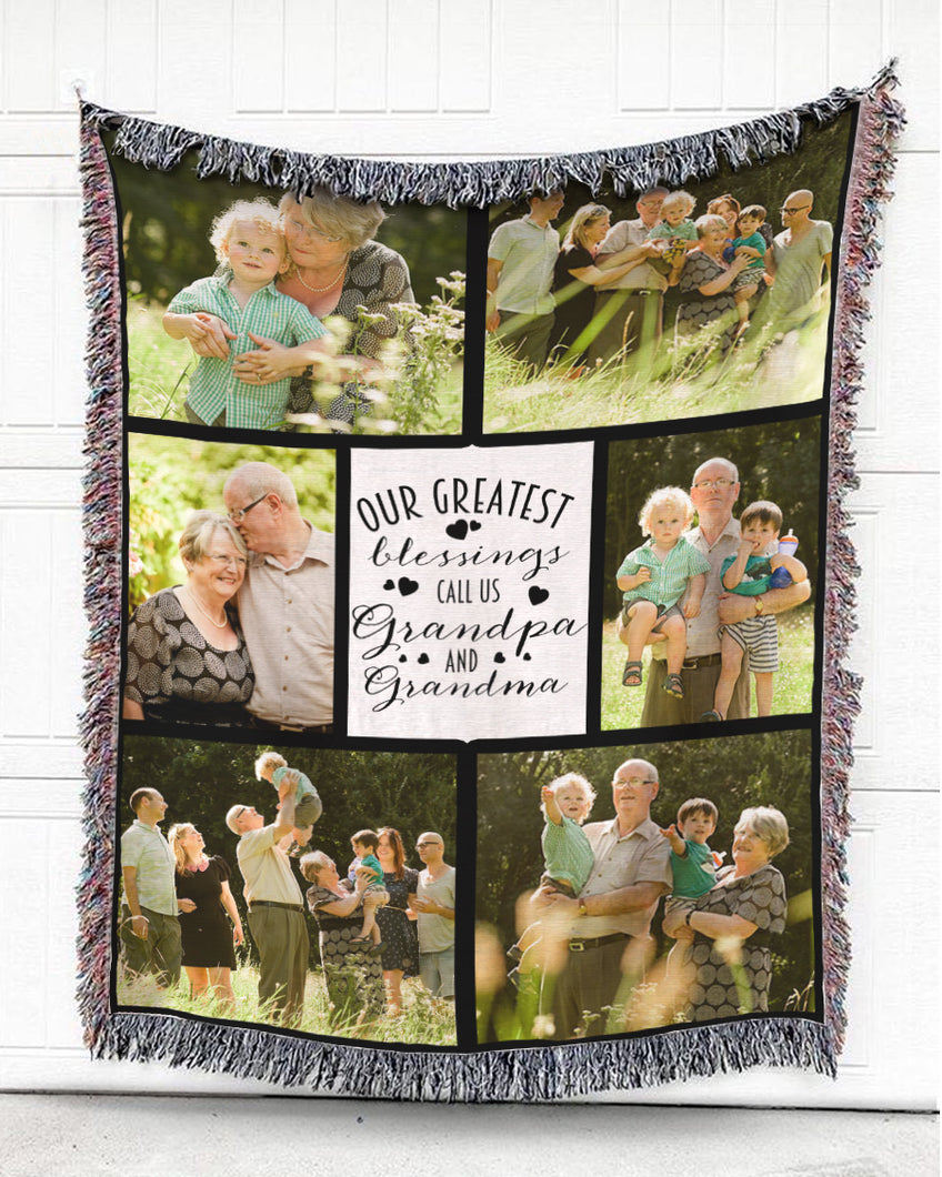 Foal14 Personalized Woven Blanket For Grandparents Wedding Anniversary Gift, Grandpa And Grandma - Greatest Blessings, With Custom Photo