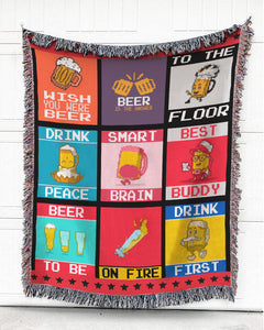 Foal14 Woven Throw For Home Decor, Beer - Beer Is The Answer, Cotton Blanket