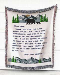 Foal14 Personalized Woven Blanket For Father Birthday Gift, Bears - Dear Dad, With Personalized Text