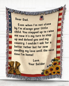 Foal14 Personalized Woven Blanket For Father Birthday Gift, Shoes And Sunflowers - From Soldier Son To Dad, With Personalized Text