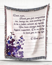 Load image into Gallery viewer, Foal14 Personalized Woven Blanket For Her Birthday Gift, Flowers Note Blanket, With Personalized Text