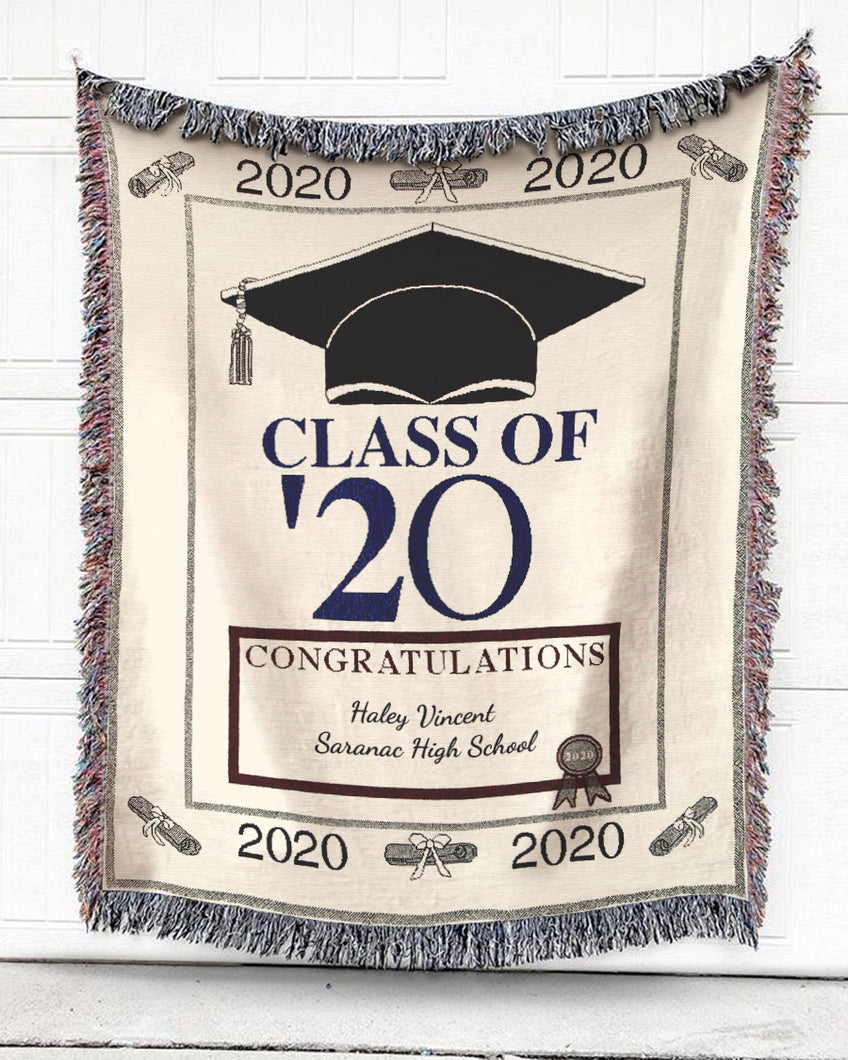 FOAL14 Personalized Woven Blanket For Profession Graduation Gift, Class Of '20, With Personalized Name and Year