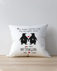 FOAL14 Personalized Pillow Valentine Gift, You Are My Penguin, With Personalized Names