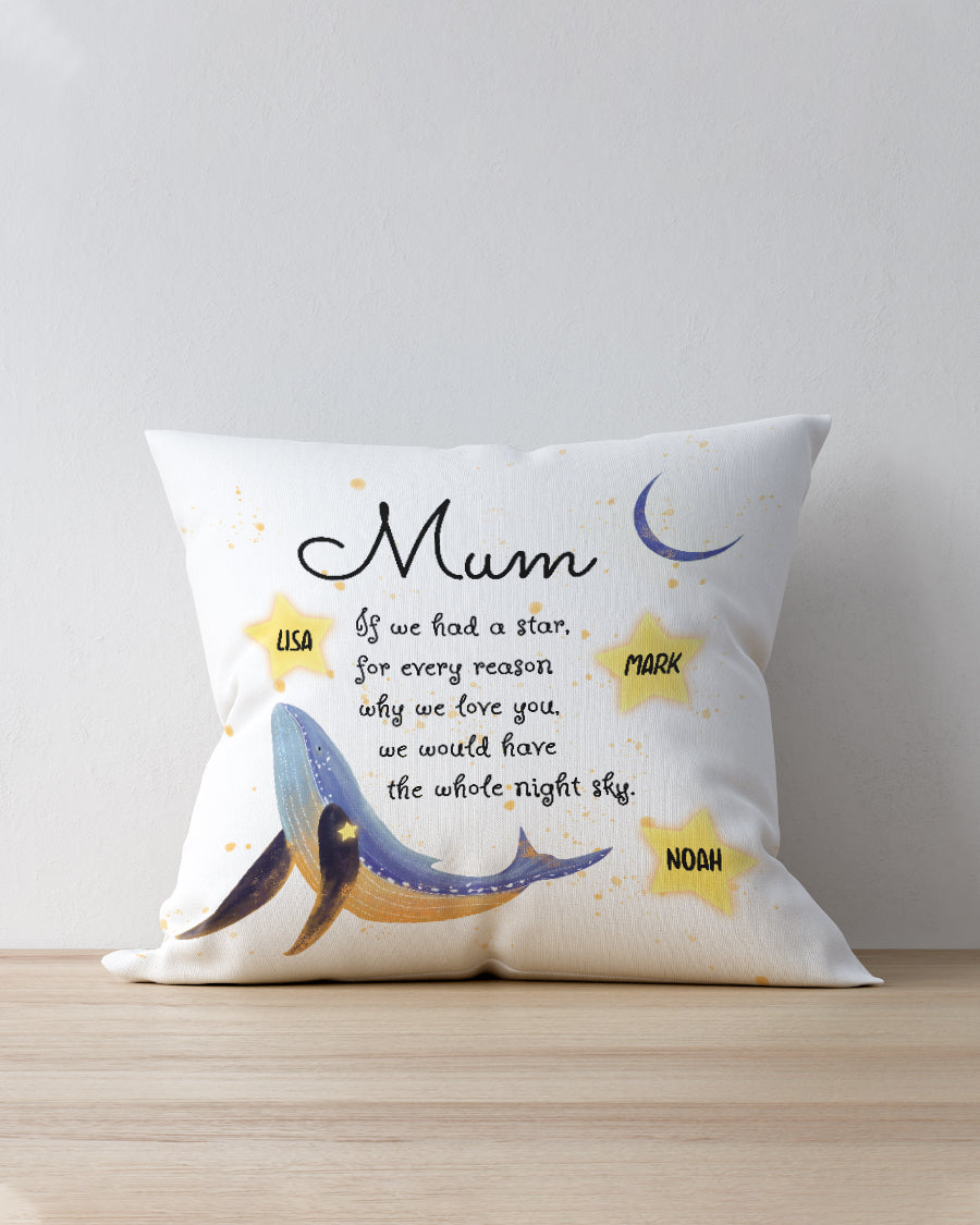 FOAL14 Personalized Pillow For Mother Mother's Day Gift, Dolphin - We Would Have The Whole Night Sky, With Personalized Text