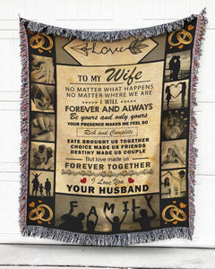 Foal14 Woven Throw For Wife Anniversary Gift, The Rings - Love Letter From Husband, Cotton Blanket