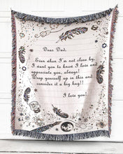 Load image into Gallery viewer, Foal14 Personalized Woven Blanket For Father Father's Day Gift, Far From Home, Postage Envelope, With Personalized Text