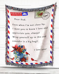 Foal14 Personalized Woven Blanket For Father Father's Day Gift, Far From Home, Postage Envelope, With Personalized Text