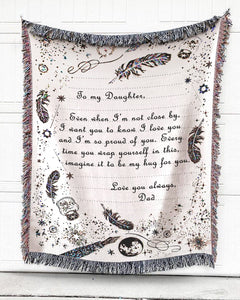 FOAL14 Personalized Woven Blanket For Daughter Birthday Gift, Far From Home - To My Daughter, Cotton Blanket