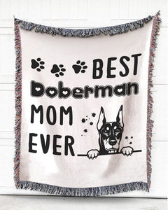 Foal14 Woven Throw For Animal Lovers Home Decor, Best Mom Of Dogs, Cotton Blanket