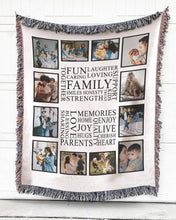 Load image into Gallery viewer, FOAL14 Personalized Woven Blanket For Family Home Decor, Family Memories, With Custom Photo
