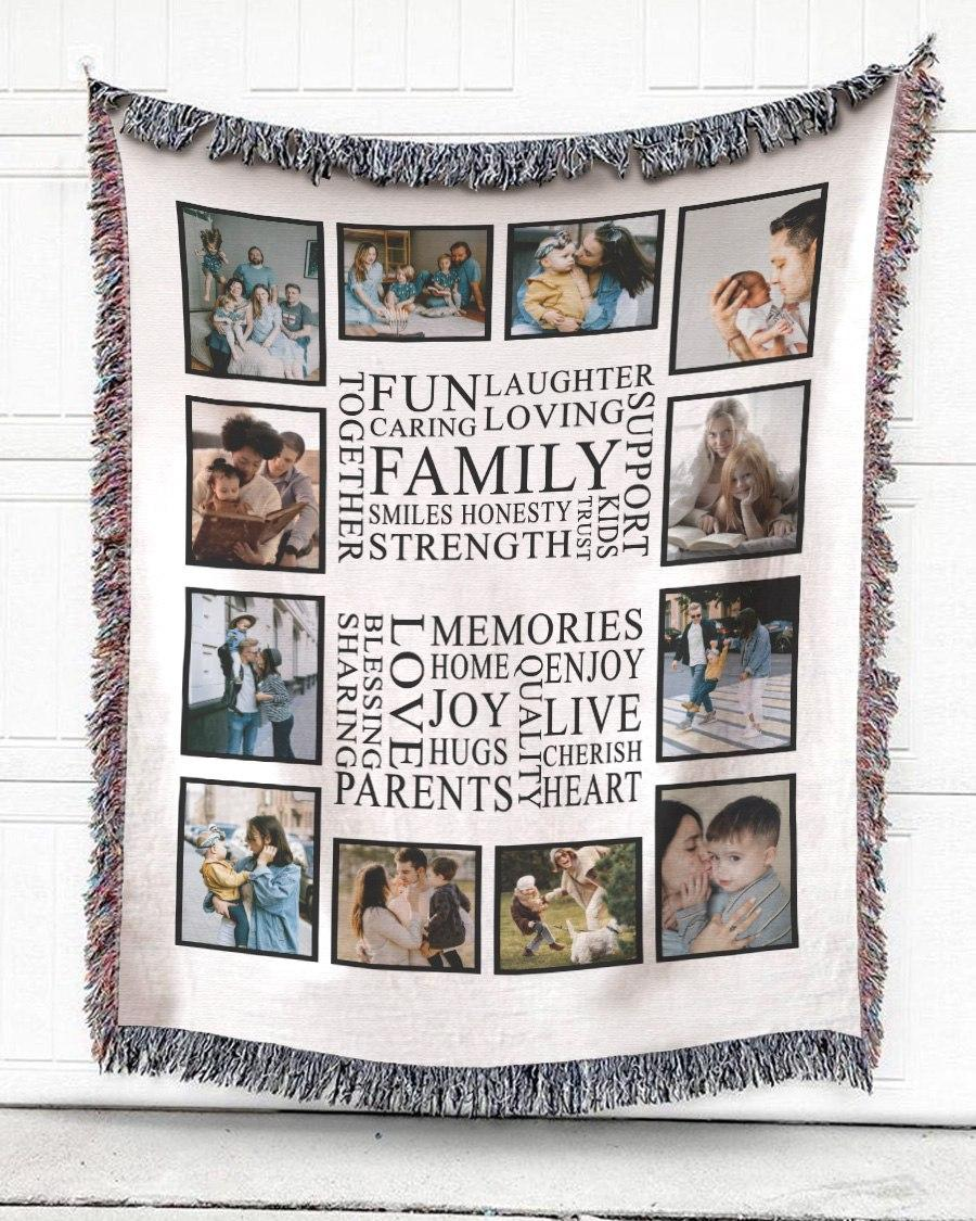 FOAL14 Personalized Woven Blanket For Family Home Decor, Family Memories, With Custom Photo