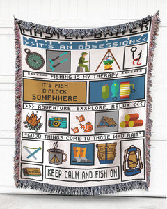 Foal14 Woven Throw For Fishing Lovers Home Decor, Fishing Is My Therapy, Cotton Blanket