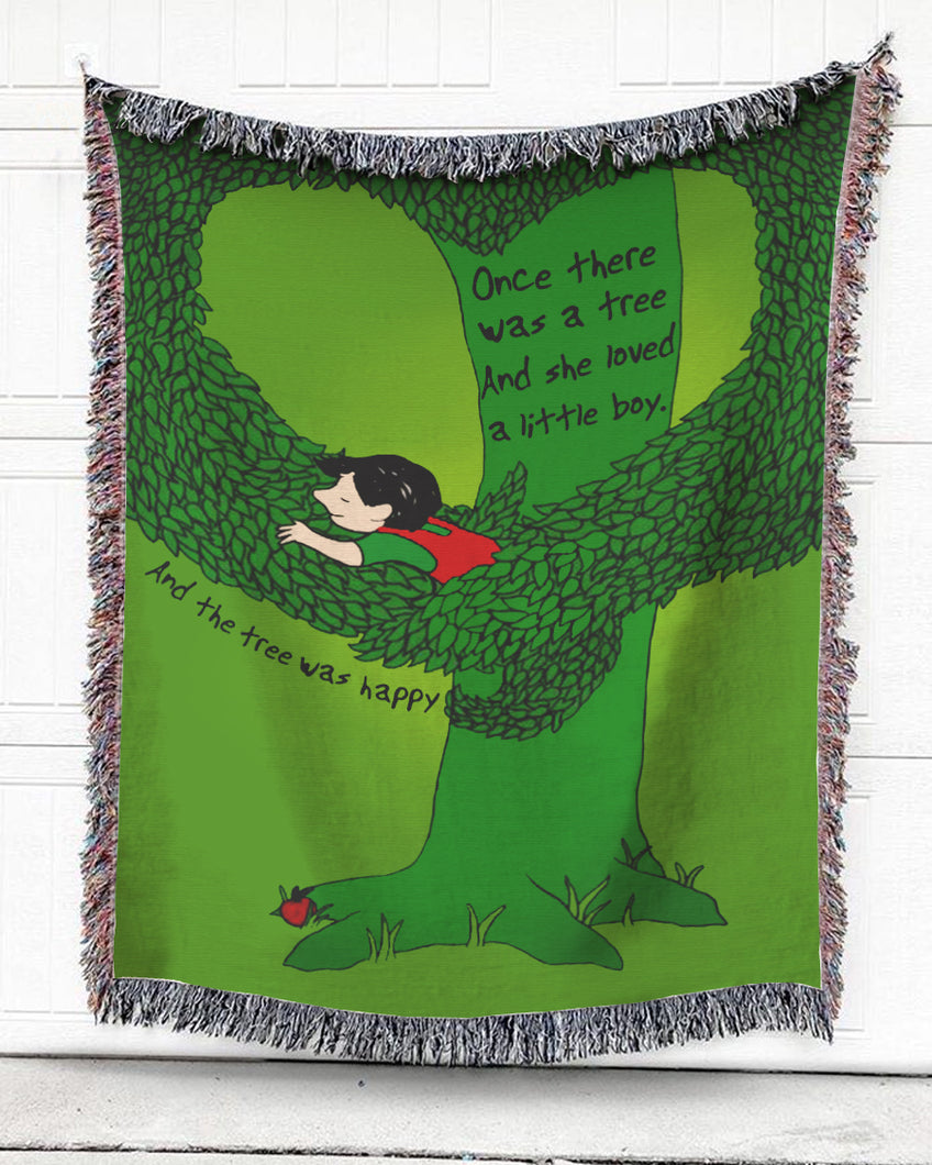 Happy Green Tree Cotton Blanket