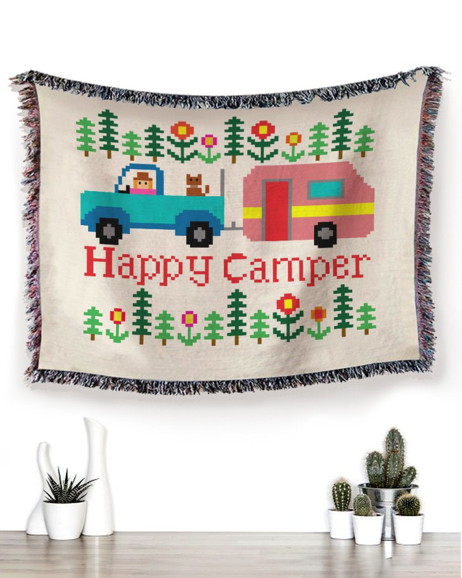 Foal14 Woven Throw For Campers Camping Gift, Happy Camper, Cotton Blanket