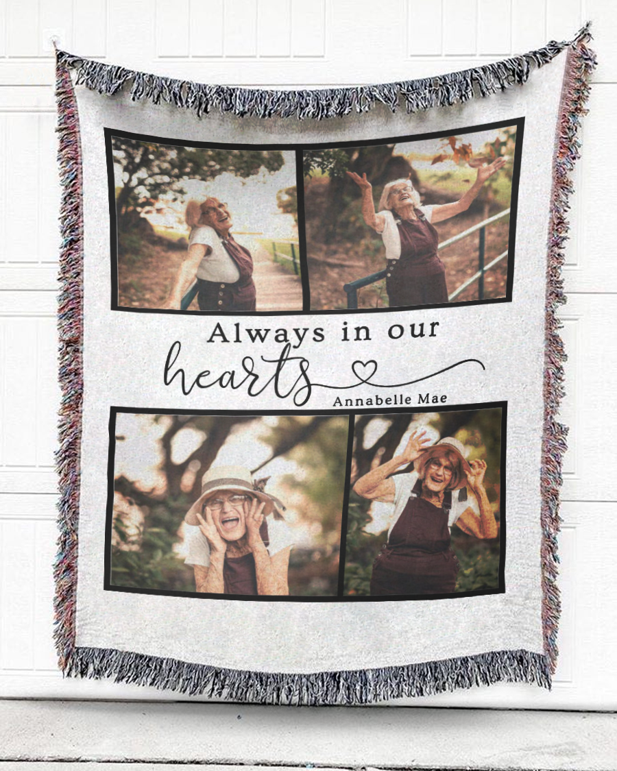 FOAL14 Personalized Memorial Woven Blanket Remembrance Gift, Memories In Our Heart, With Custom Photo