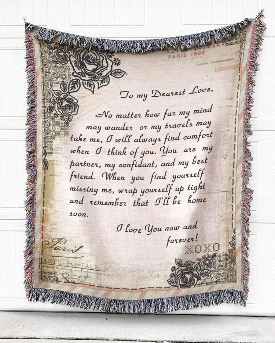Foal14 Personalized Woven Blanket For Wife Anniversary Gift, Love You Now And Forever, With Personalized Text