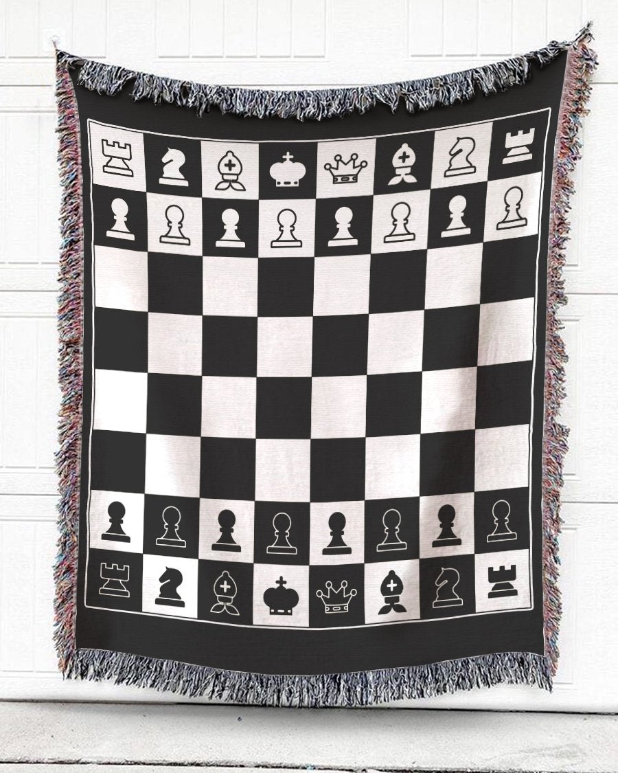 Foal14 Woven Throw For Sports Lovers Birthday Gift, Chessboard, Cotton Blanket