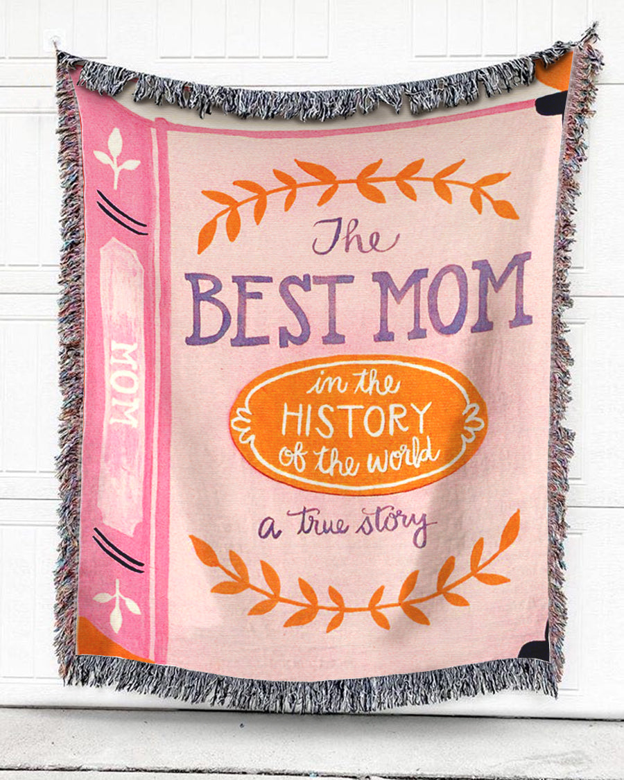Foal14 Woven Throw For Mother Mother's Day Gift, The Best Mom, Cotton Blanket