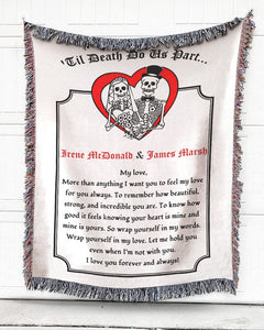 Foal14 Personalized Woven Blanket For Husband And Wife Anniversary Gift, Skeleton Couple - Til Death Do Us Part, With Personalized Name