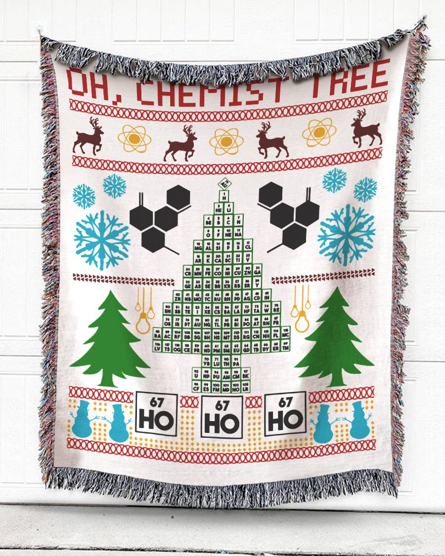 Foal14 Woven Throw For Kids Christmas Gift, Pines And Snowflakes - Chemist Tree, Cotton Blanket